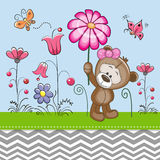 Cute Bear with a Flower Stock Images