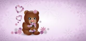 Cute bear with flowers on light purple background Stock Image