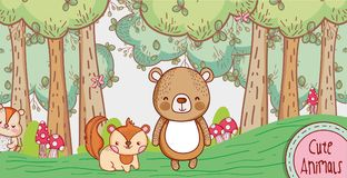 Cute bear and fox in the forest doodle cartoon. Vector illustration graphic design Royalty Free Stock Photo