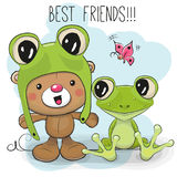 Cute Bear and Frog. Cute Cartoon Teddy Bear in a frog hat and frog Stock Photo