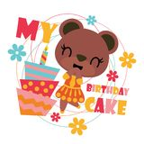 Cute bear girl with birthday cake cartoon illustration for happy birthday card design. Postcard, and wallpaper stock illustration