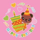 Cute bear girl and birthday cake cartoon illustration for happy birthday card design. Postcard, and wallpaper stock illustration