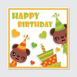 Cute bear girl and birthday cake frame  cartoon illustration for happy birthday card design. Postcard, and wallpaper Stock Photo