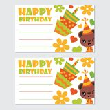 Cute bear girl and birthday elements  cartoon illustration for happy birthday card design. Postcard, and wallpaper Royalty Free Stock Images