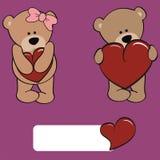Cute bear girl and boy cartoon Royalty Free Stock Photos