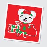 Cute bear girl brings Xmas gift bag  cartoon illustration for Christmas card design. Wallpaper and greeting card Stock Photography