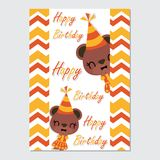 Cute bear girl on chevron border cartoon illustration for happy birthday card design. Postcard, and wallpaper vector illustration