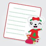 Cute bear girl is happy on Xmas gift bag  cartoon illustration for Christmas card design. Wallpaper and greeting card Royalty Free Stock Images