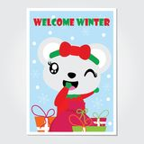 Cute bear girl and Xmas gift bag  cartoon illustration for Christmas card design. Wallpaper and greeting card Stock Photos