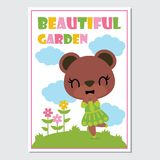 Cute bear girls on flower garden  cartoon illustration for kid book cover design. Stationery and planner sticker Stock Photography
