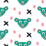 Cute bear green fun seamless pattern for kids and babies. Cuet bear stylized green fun seamless pattern for kids and babies. Toy plush animal fabric design for Royalty Free Stock Photo