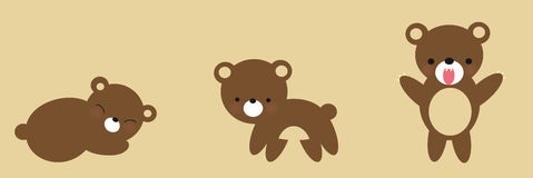 Cute Bear Growing. Illustration of a cute bear growing into adulthood Stock Illustration