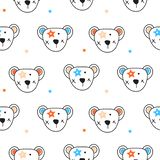 Cute bear heads and stars seamless pattern vector. stock illustration