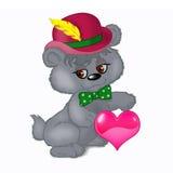 Cute bear with heart stock photos