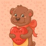 Cute bear with heart Royalty Free Stock Images