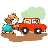Cute bear help car stuck on mud  Stock Photos