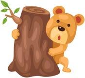 Cute bear hiding behind stump vector illustration