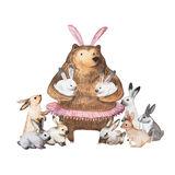 Cute bear and his little bunnies. Hand Drawn Watercolor illustration. stock illustration