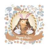 Cute bear and his little bunnies. Hand Drawn Watercolor illustration. Happy Easter Card Royalty Free Stock Image