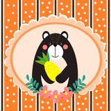 Cute bear hold pineapple background for greeting card theme. vector illustration
