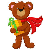 Cute bear holding gift box Royalty Free Stock Photo