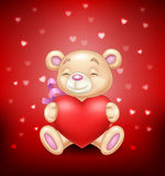 Cute bear holding red heart Royalty Free Stock Photos