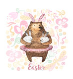 Cute bear holding two little bunnies. Hand Drawn Watercolor illustration. Happy Easter Card Royalty Free Stock Photos