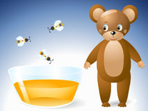 Cute bear and honey Royalty Free Stock Images