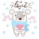 Cute bear huge hugs illustration. Love and heart. vector illustration