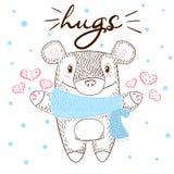 Cute bear huge hugs illustration. Love and winter. vector illustration