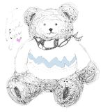 Cute bear. Vector hand drawn illustration with lettering. vector illustration