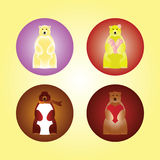 Cute bear icons. Four different colored bears with roses, scarf and heart stock illustration