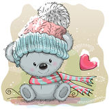 Cute Bear In A Knitted Cap Royalty Free Stock Photos