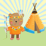 Cute bear Indian ,headdress and traditional clothing of the indi Royalty Free Stock Image