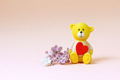 Cute Bear and lilac flower. Background for valentine. Royalty Free Stock Photography