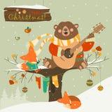 Cute bear and little fox celebrating Christmas. Vector greeting card Royalty Free Stock Photos