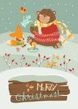 Cute bear and little fox celebrating Christmas Stock Photos