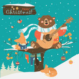 Cute bear and little fox celebrating Christmas. Vector greeting card Stock Photography