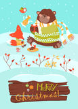 Cute bear and little fox celebrating Christmas. Vector greeting card Royalty Free Stock Image
