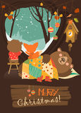 Cute bear and little fox watching snow from den. Vector greeting card Stock Images