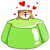 Cute bear love apple tasty jelly  Royalty Free Stock Photos