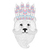 Cute bear with mustache, beard, war bonnet on head. Hand drawn a Royalty Free Stock Image