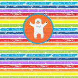 Cute bear, offering hugs, on seamless striped Royalty Free Stock Images