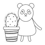 Cute bear panda with exotic cactus in ceramic pot. Vector illustration design vector illustration