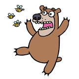 Cute bear in panic. Angry bees. Vector illustration. Stock Photos