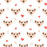 Cute bear pink fun seamless pattern for kids and babies. Royalty Free Stock Images