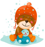 Cute bear playing snow Stock Image