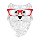 Cute bear portrait with french mustache, beard, glasses.  Royalty Free Stock Photography