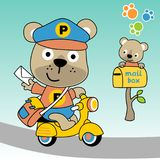 Cute bear the postman, vector cartoon illustration. Funny postman cartoon. Vector cartoon illustration, no mesh, vector on eps 10 Royalty Free Stock Images
