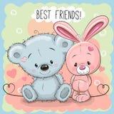 Cute Bear and rabbit Stock Image